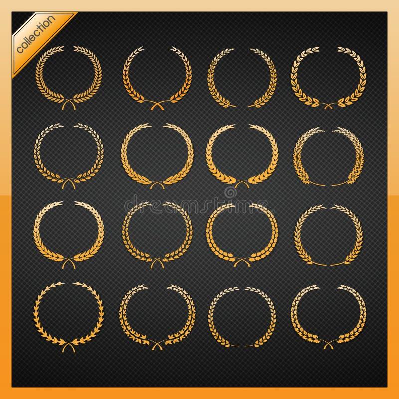 Golden laurel wreath collection. stock illustration