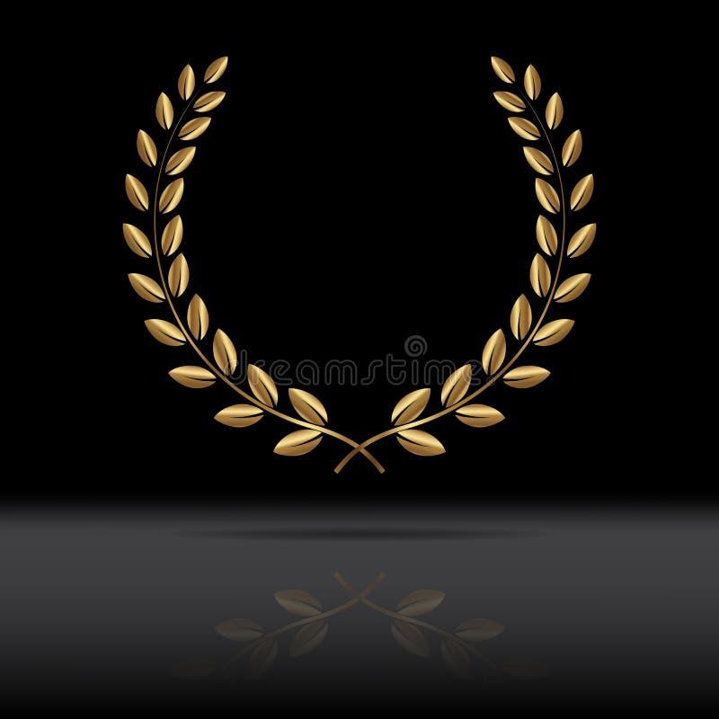 Golden laurel wreath with mirror reflection on black background. Vector. Illustration stock illustration