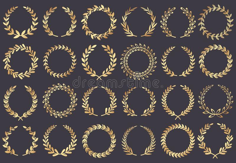 Golden laurel wreath. Movie festival awards, winner actress awarded, cannes film leaf symbol vector illustration. Golden laurel wreath. Movie festival awards royalty free illustration