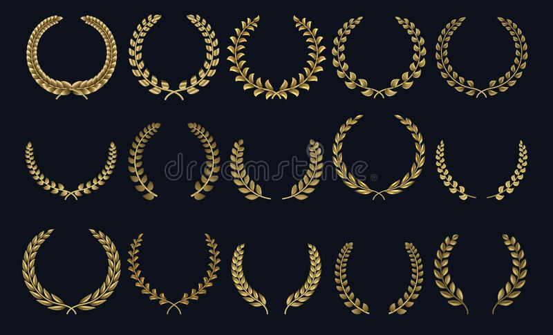 Golden laurel wreath. Realistic crown, leaf shapes winner prize, foliate crest 3D emblems. Vector laurel silhouettes and. Golden laurel wreath. Realistic crown stock illustration