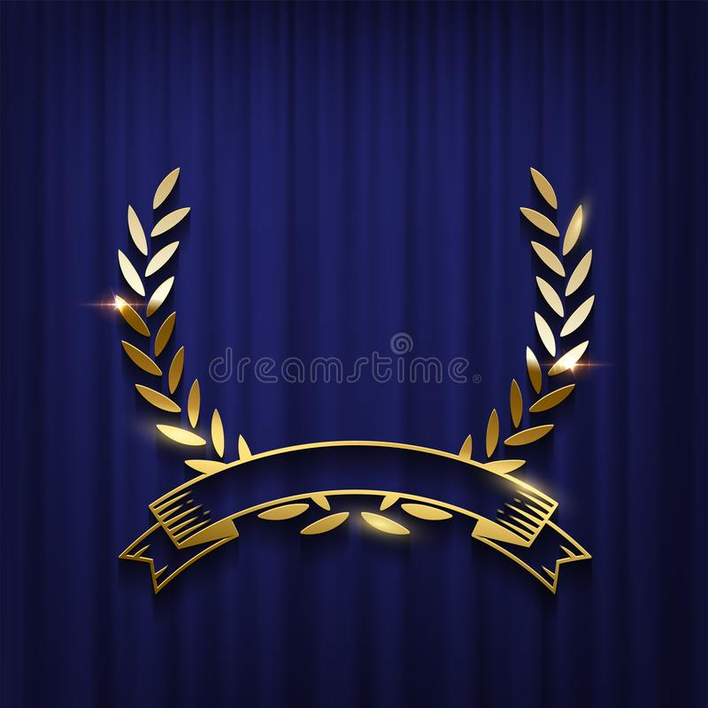 Golden laurel wreath and ribbon isolated on blue curtain background. Vector award ceremony poster template. Golden laurel wreath and ribbon isolated on blue vector illustration