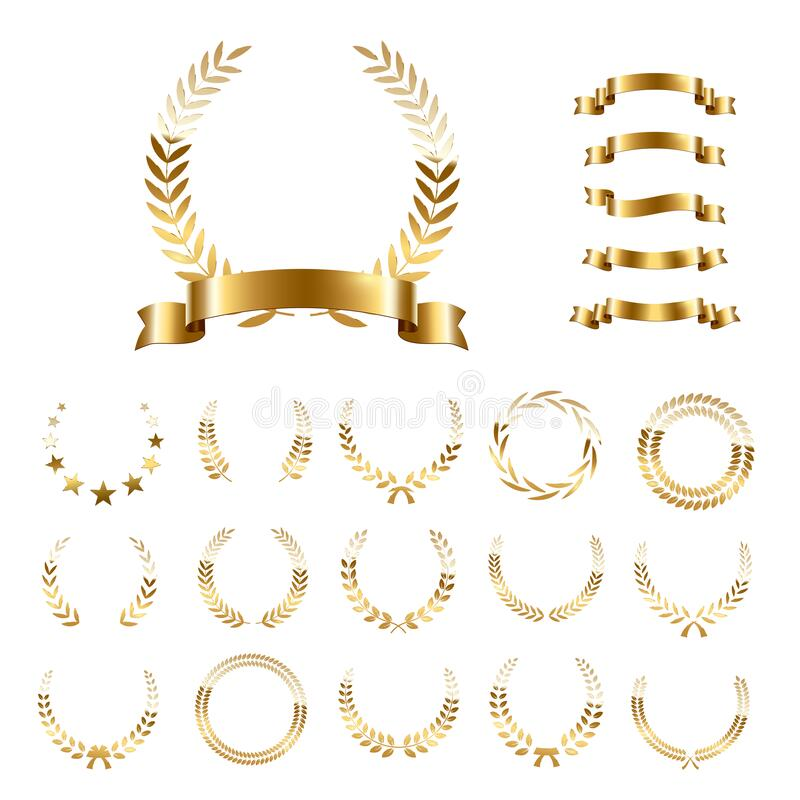 Free Golden Laurel Wreaths And Ribbons Set On White Background. Set Of Foliate Award Wreath For Championship Or Cinema Royalty Free Stock Photos - 176106338