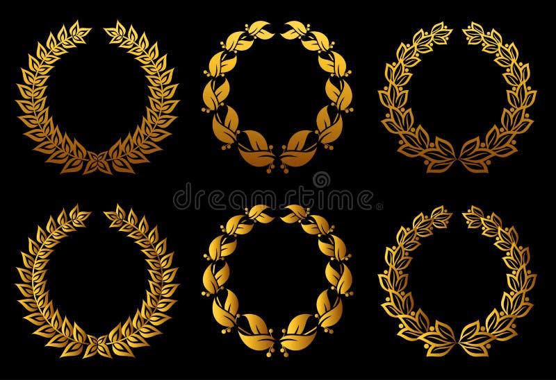 Download Golden laurel wreaths set stock vector. Illustration of pattern - 23081209