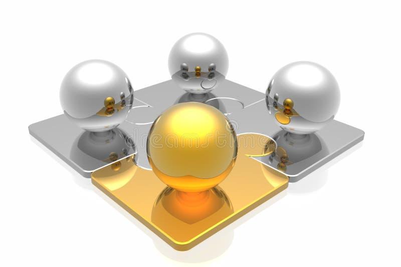 Golden leader and business team vector illustration