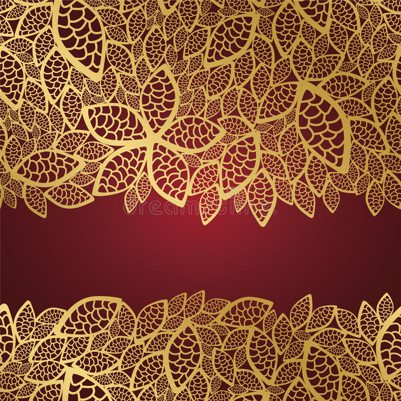 Download Golden Leaf Lace On Red Background Stock Vector - Image: 16430338