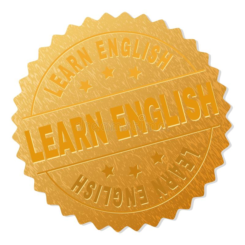 Golden LEARN ENGLISH Medallion Stamp royalty free illustration