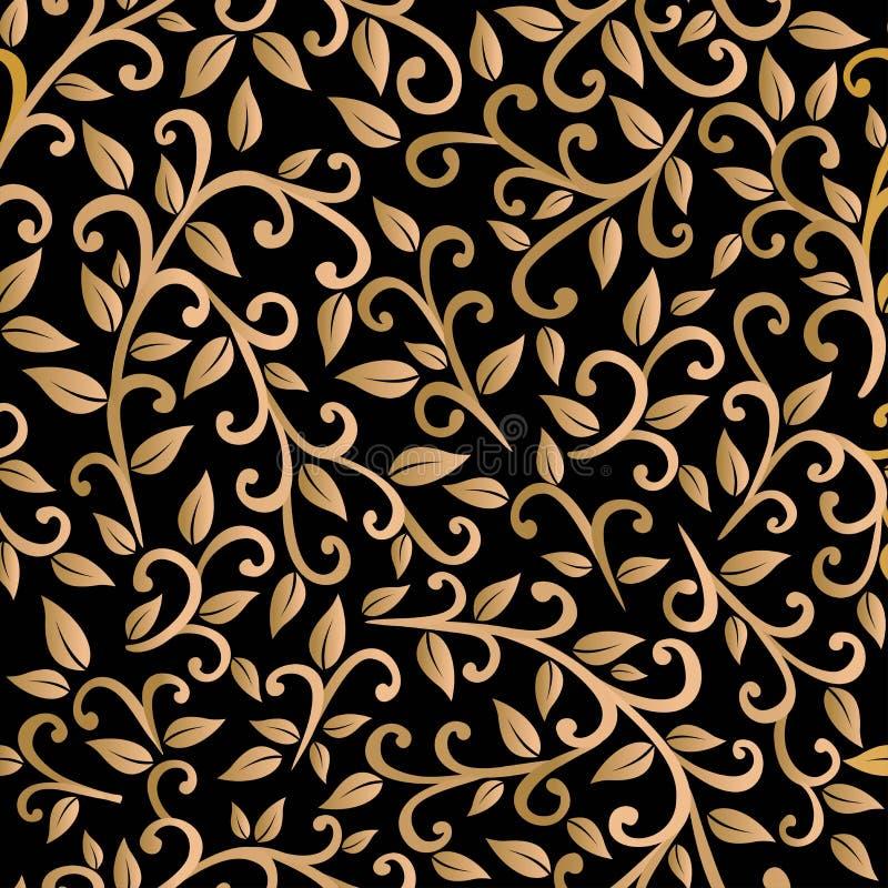 Golden leaves stock illustration