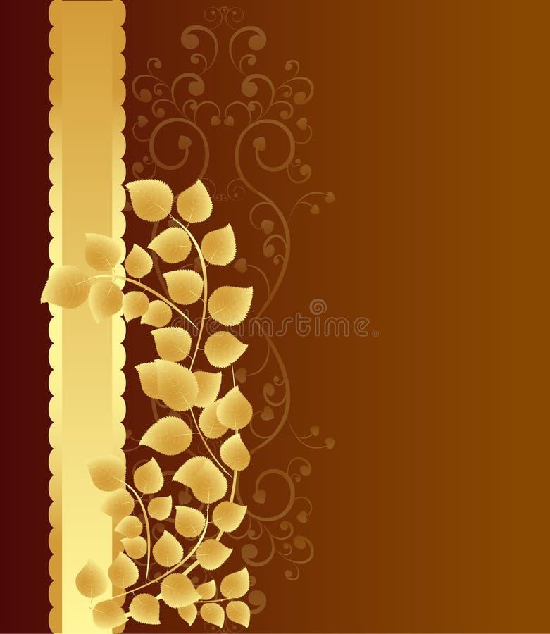 Golden leaves background royalty free illustration