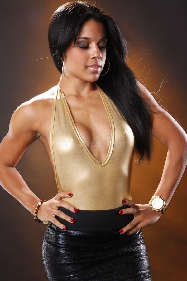 Download Golden leotard stock photo. Image of beautiful, female - 16948766