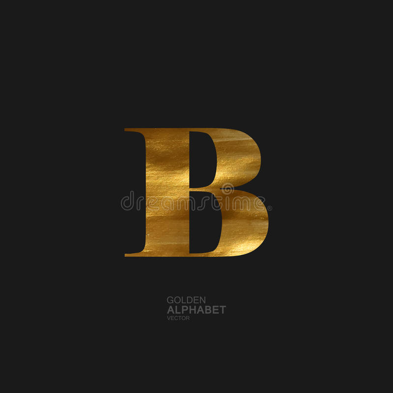 Golden letter B vector illustration