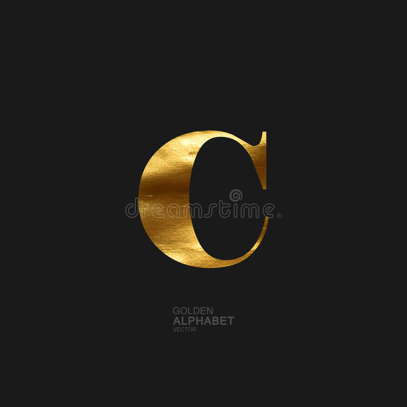 Golden letter C royalty free illustration