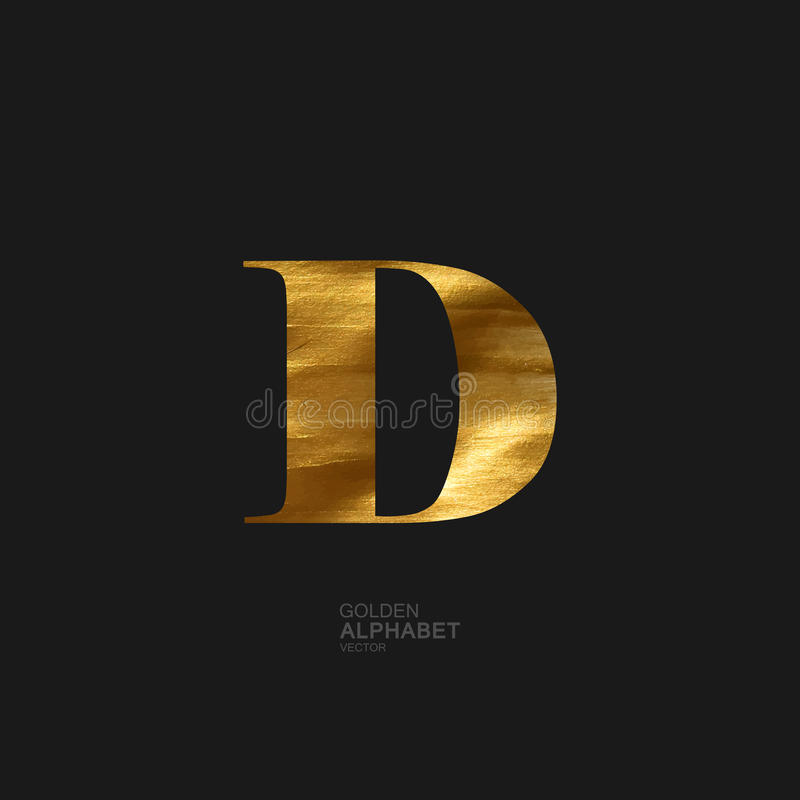 Golden letter D royalty free illustration