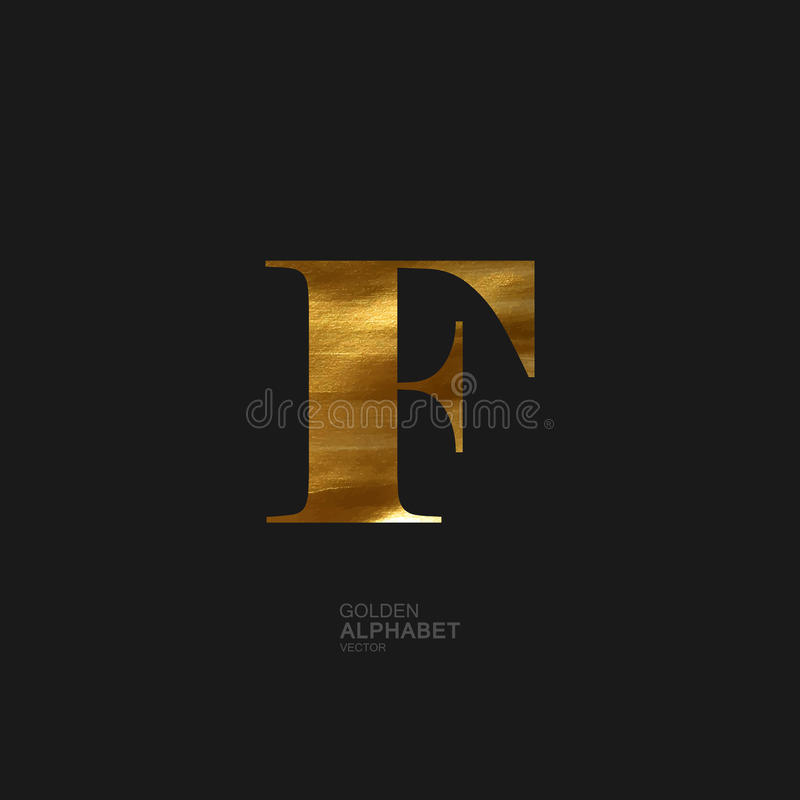 Golden letter F vector illustration
