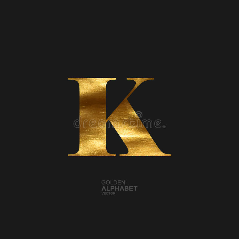Golden letter K vector illustration
