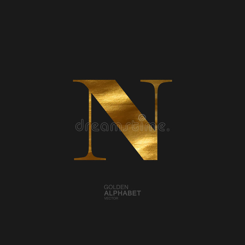Golden letter N vector illustration