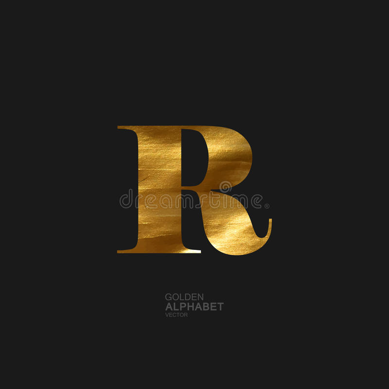 Golden letter R vector illustration