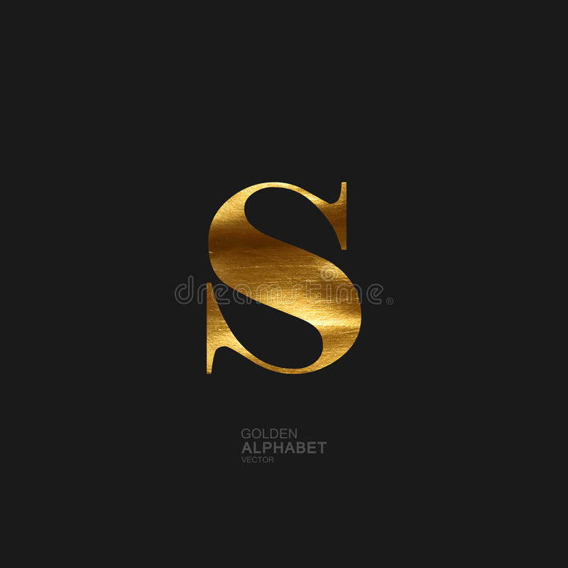 Golden letter S royalty free illustration
