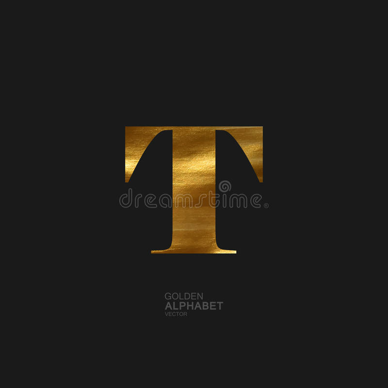 Golden letter T vector illustration
