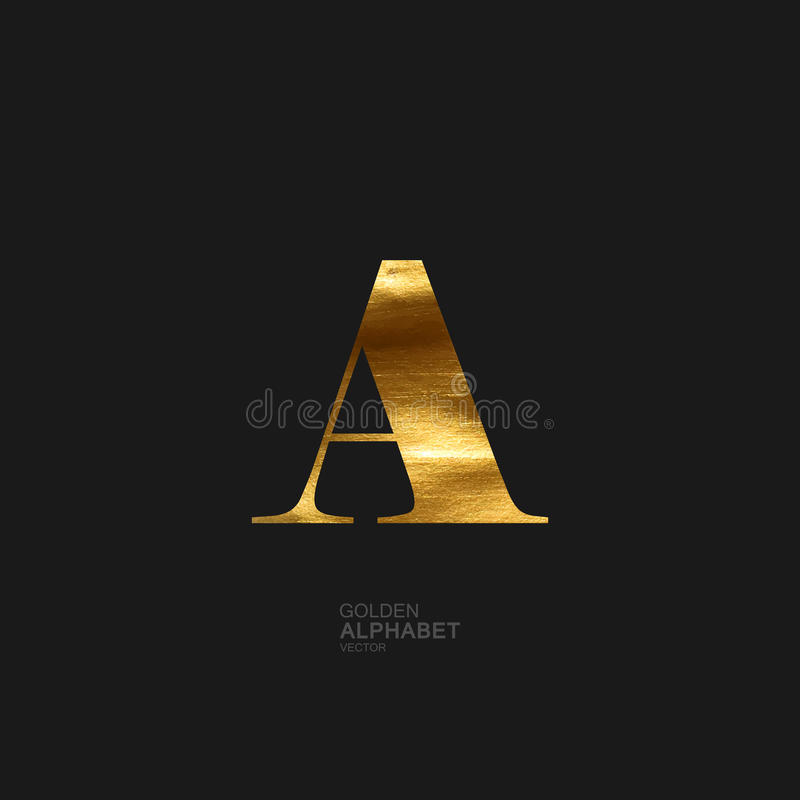 Golden letter A royalty free illustration