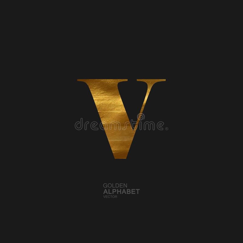 Golden letter V royalty free illustration