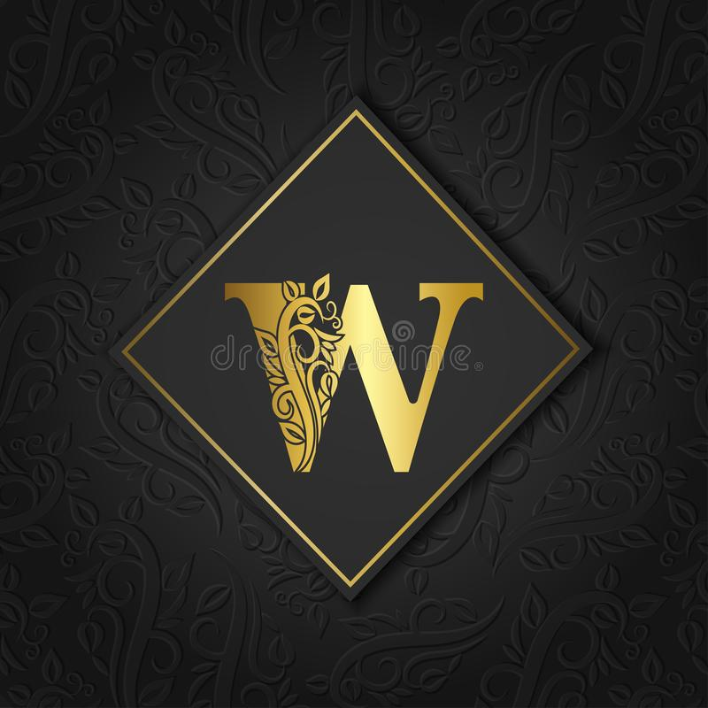 Golden letter W with elegant floral contour isolated on colorful separate background. Premium letter W or background great for royalty free stock photos