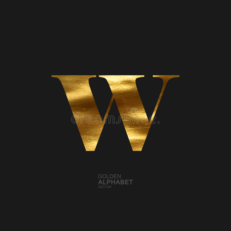 Golden letter W stock illustration