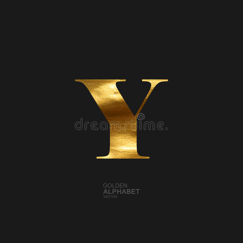 Golden letter Y stock illustration