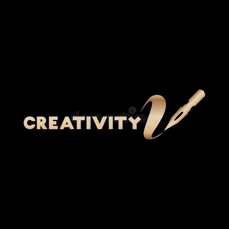 Golden Lettering logo design for Art company stock illustration