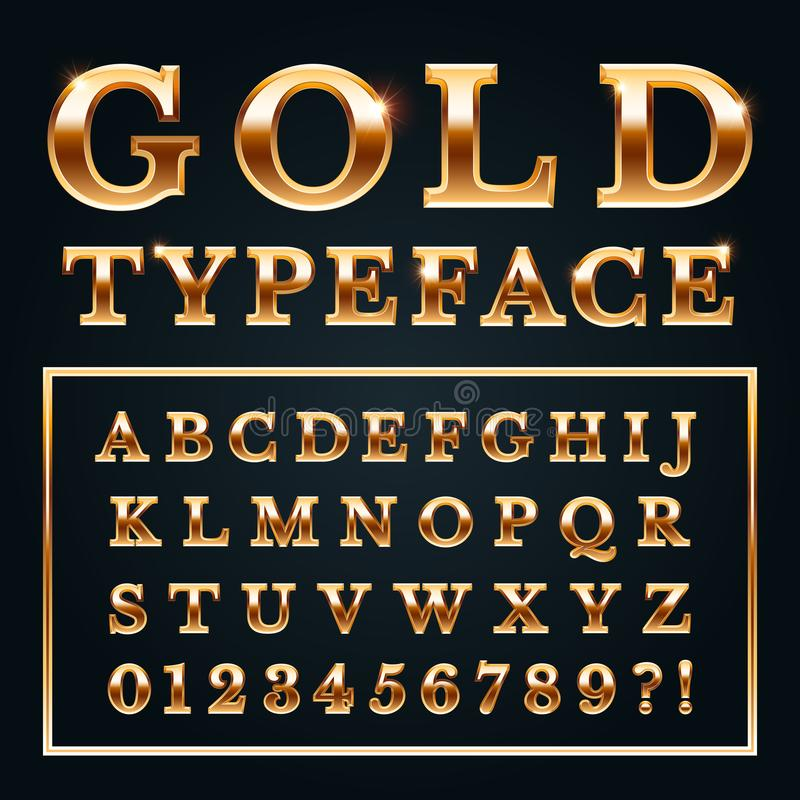 Golden letters with gold shine metal gradients. Shiny alphabet and numbers serif font for luxury lettering vector royalty free illustration