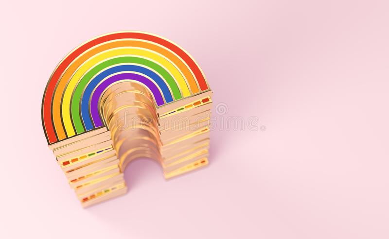Golden LGBTQ rainbow pile for gay pride, LGBT, bisexual, homosexual symbol concept. Isolated on pastel pink background with copy vector illustration