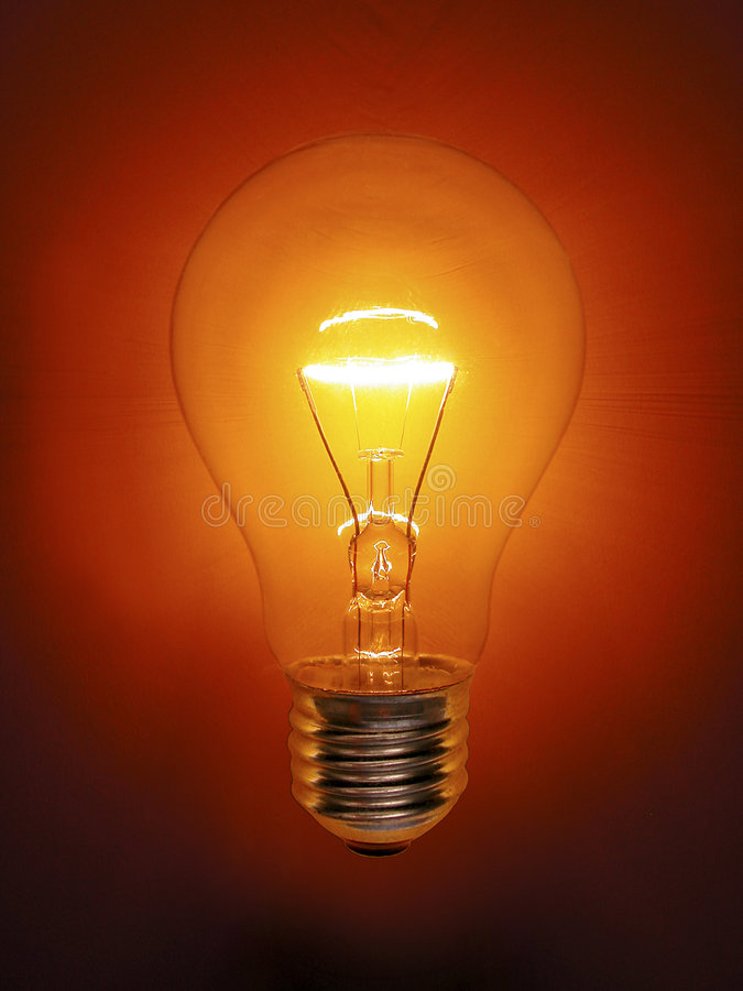 Golden Light Bulb Electric stock photo