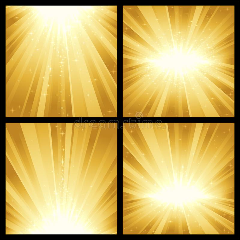 Golden light bursts. 4 different golden light bursts with magic stars. Great for festive themes, like Christmas or New Years royalty free illustration