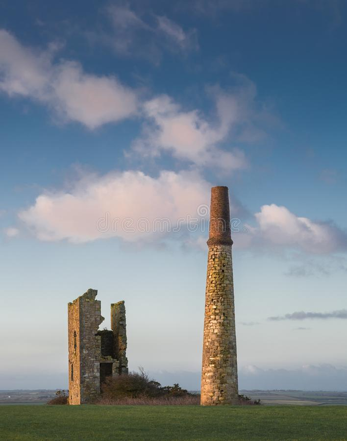 Golden Light catching Engine House, St Austell, Cornwall stock image