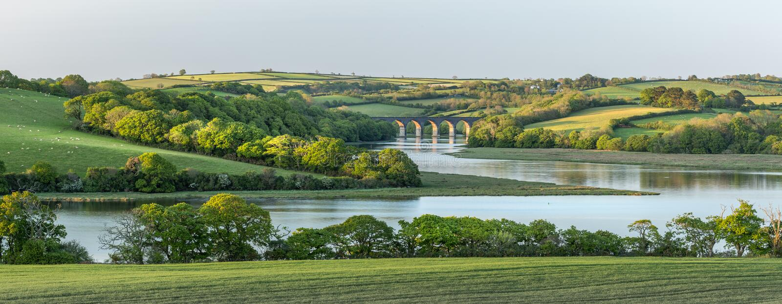 Golden Light over the Notter Viaduct, River Lynher, Cornwall stock photos