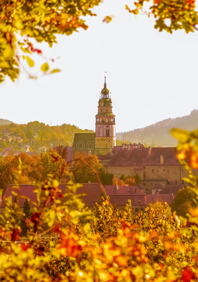 Golden light. Photography of Cesky Krumlov castle in golden light , Czech Republic stock photography