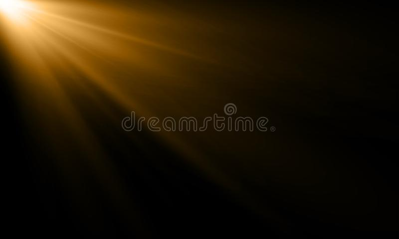 Golden light ray sun beam vector background. Abstract gold light flash spotlight backdrop with golden sunlight shine on black royalty free illustration