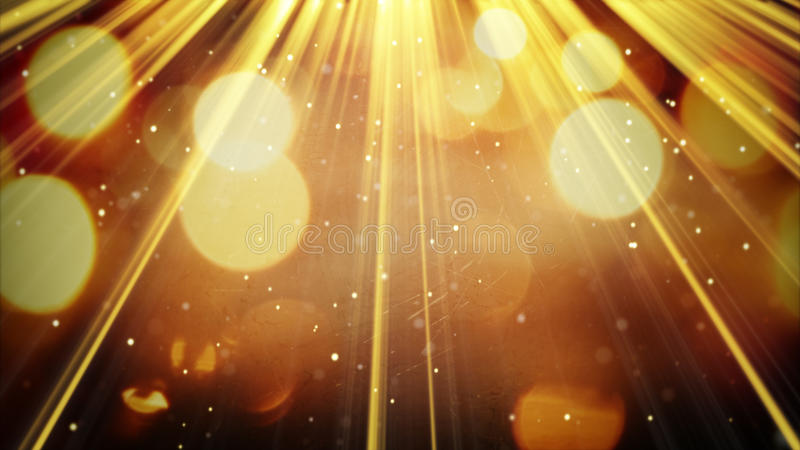 Golden light rays and particles. Computer generated abstract background stock image