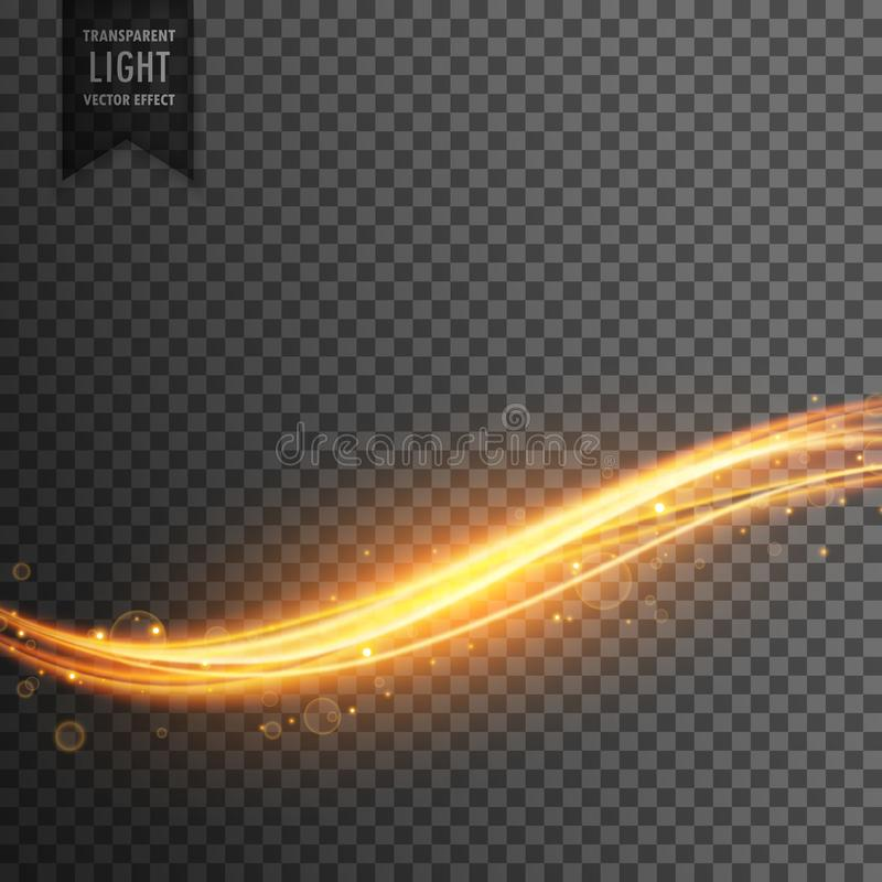 Golden light streak transparent effect background vector illustration