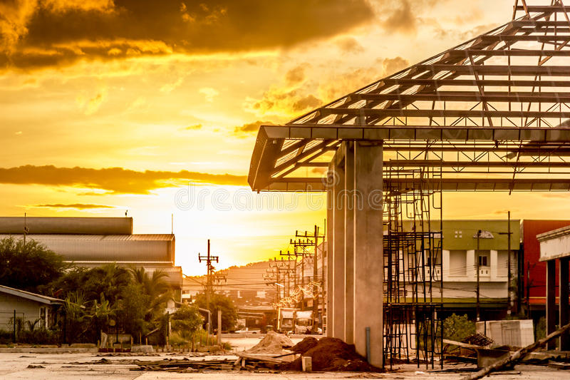 Golden light of sunset, the view that the building was built. royalty free stock photos