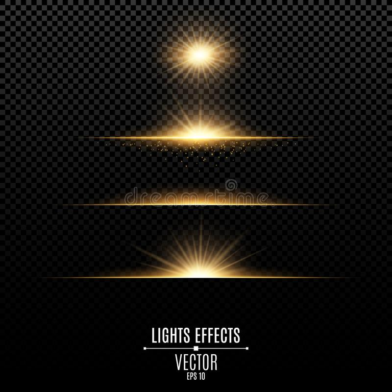 Golden lights effects isolated on a transparent background. Bright flashes and glare of gold color. Bright rays of light. Glowing. Lines. Vector illustration stock illustration