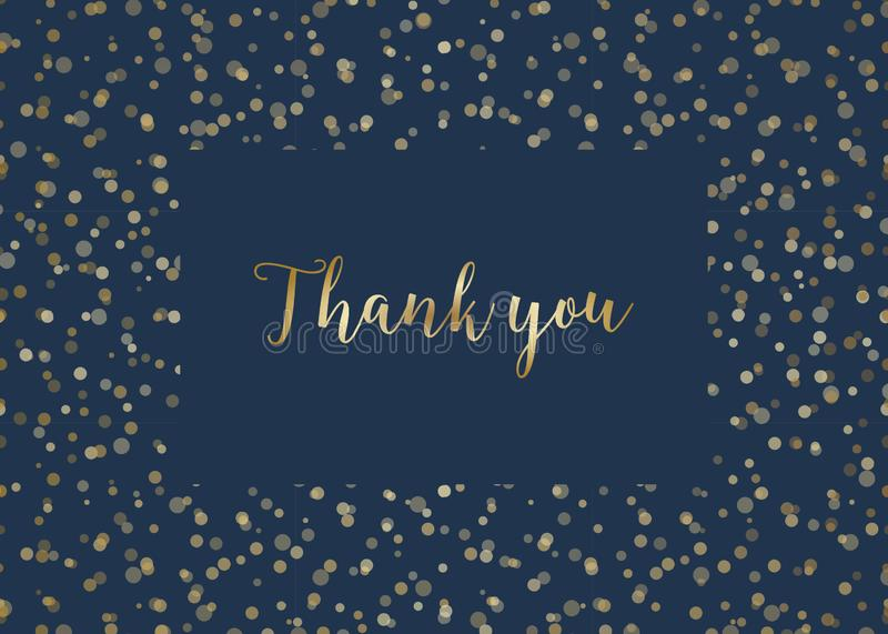 Golden Lights Thank You Card Template royalty free illustration