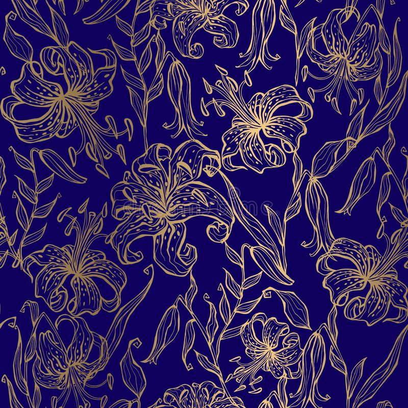 Golden lilies on a dark blue background. Seamless pattern. Vector vector illustration