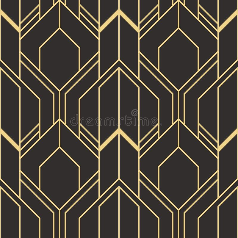 golden lined shape. Abstract art deco seamless luxury background stock illustration
