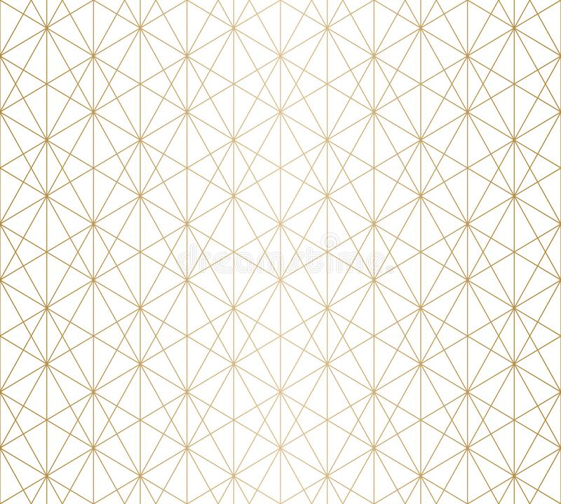 Golden lines pattern. Subtle gold and white geometric seamless grid texture stock illustration