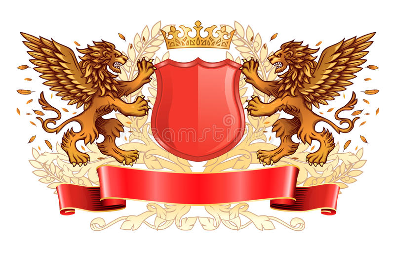 Golden Lions à ailes tenant l'emblème de bouclier illustration libre de droits