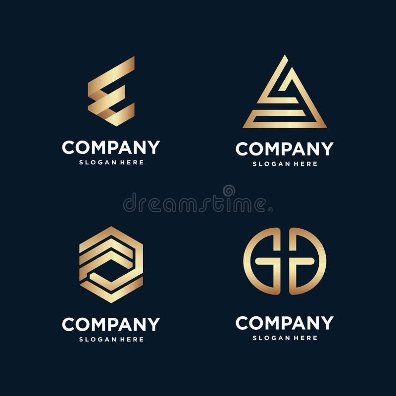 Golden Construction Logo Collection, Building , Gold