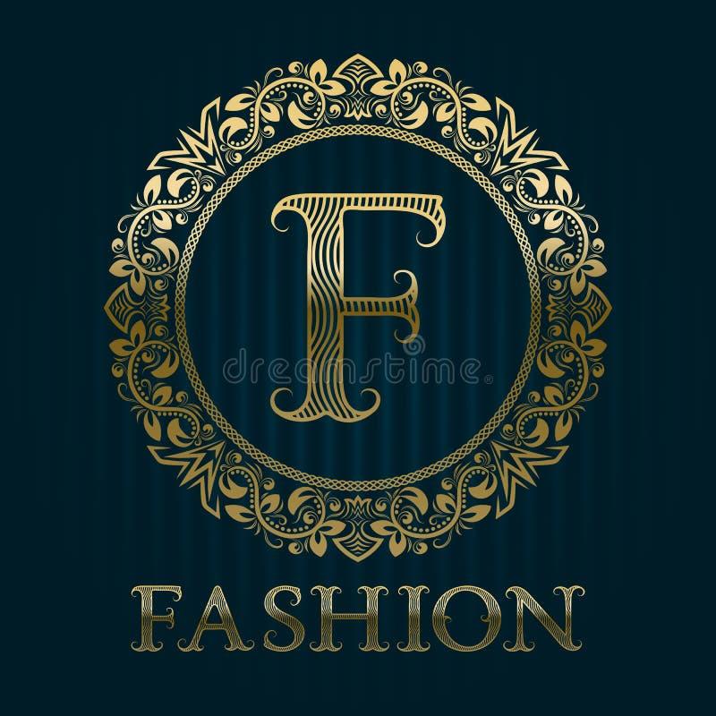Golden logo template for fashion boutique stock illustration