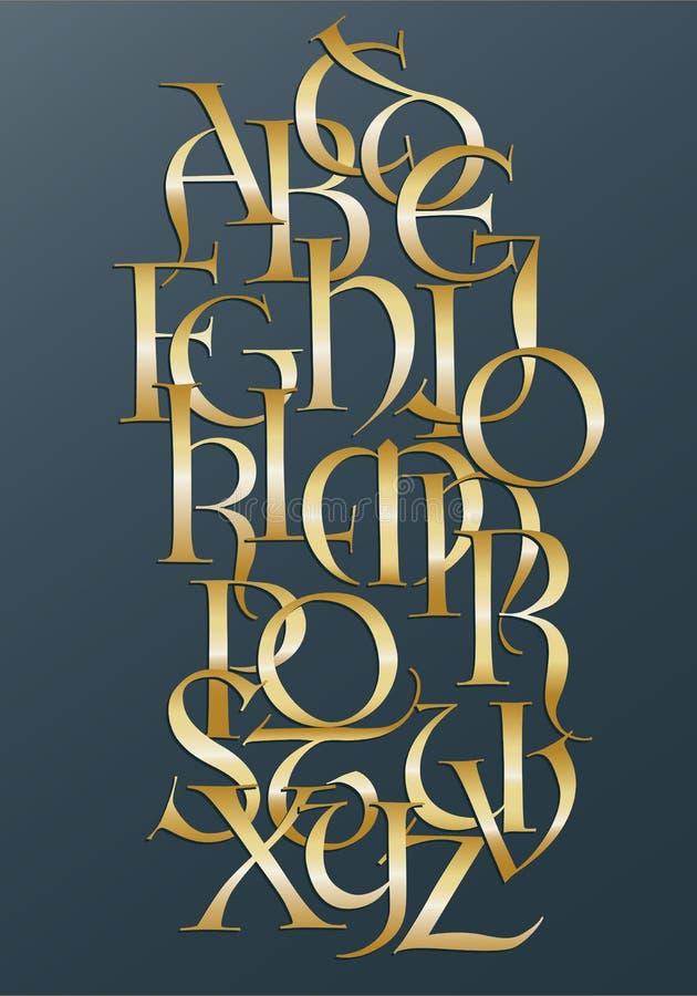Free Golden Lombard Alphabet Royalty Free Stock Image - 15925426