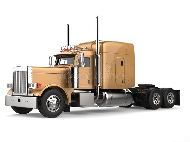 Golden long haul semi - trailer truck. Isolated on white background vector illustration