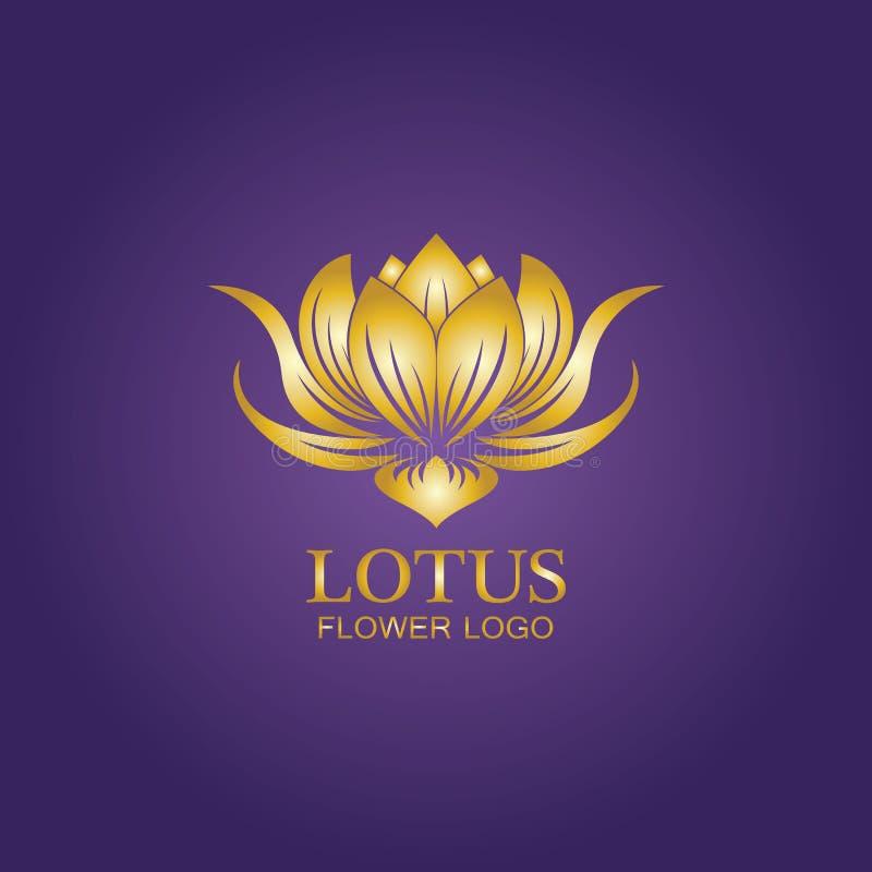 Golden Lotus Flower Logo . Vector Design Template Of Lotus
